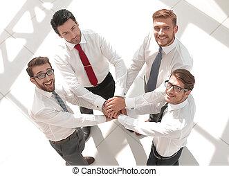 vista., mãos, seu, negócio, junto, equipe, pôr, topo