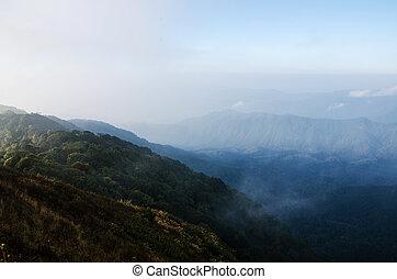 vista, mai, tailandia, calmo, pha, doi, chiang, pok, hom, vale, topo, parque, nacional