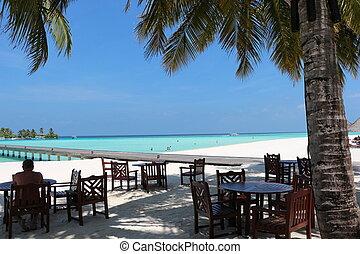 vista., maldives, mar, restaurante