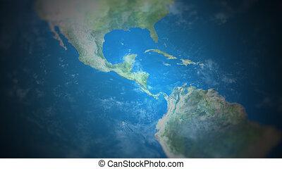 vista, mapa, mundo, américa central