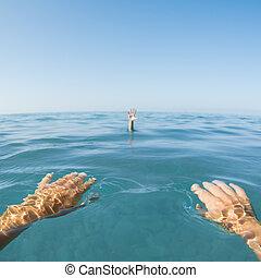 vista, mar, homem, testemunha, ponto, água, afogamento, mão