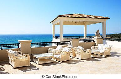 Albergo, terrazzo, lusso, vista mare. Albergo, lusso, montenegro ...