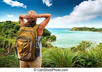 vista, mare, travelin, ragazza, godere, bello, colline, turista