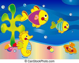 vista marina, caricatura