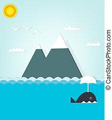 vista marina, con, ballena