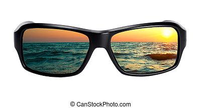 vista marina, lentes, reflexión