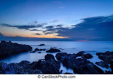 vista marina, salida del sol