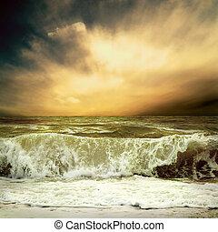 vista marina, tormenta, vista