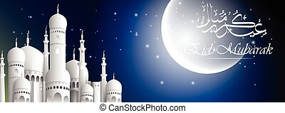 vista, mezquita, luna, noche