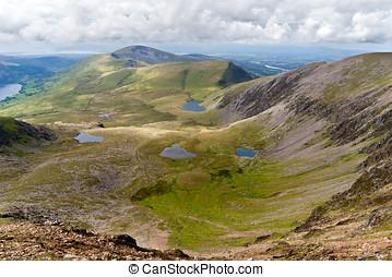 vista montaña, de, el, snowdon, cumbre, snowdonia, gales