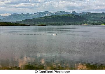vista montaña, fiordo, molde, noruega