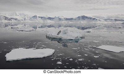 vista montanha, em, antártica