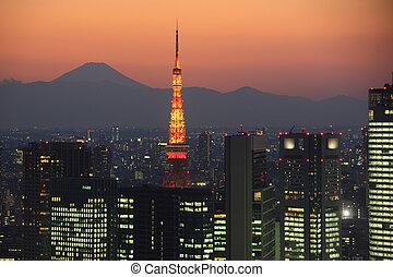 vista, monte., torre, tokio, tarde, shiodome, rascacielos, fuji