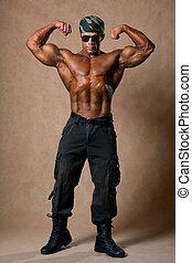vista., muscular, torso, hombre, lleno, desnudo