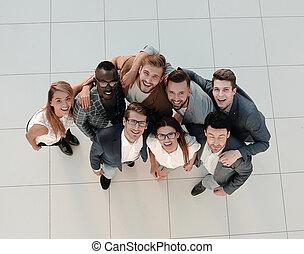 vista., negócio, feliz, retrato, equipe, topo