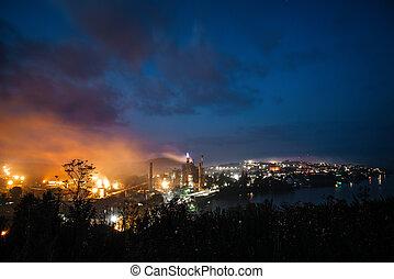 vista, noturna, industrial, plant., gigante