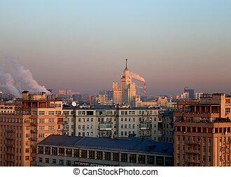 vista, ocaso, foto, hermoso, moscú, rascacielos