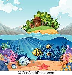 vista oceano, con, isola, e, fish, subacqueo