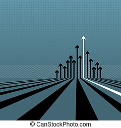 Layered vector illustration of a vista of arrows on a blue background