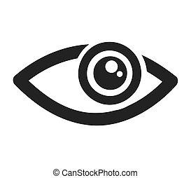 vista, olho, human, ícone