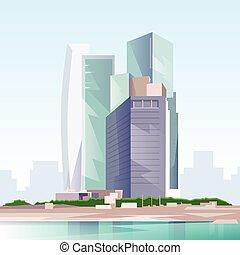 vista, orizzonte, vettore, città, grattacielo, cityscape