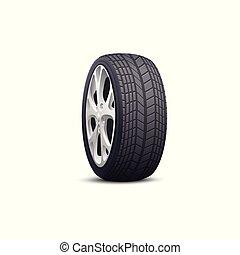 vista, orlo, ruota, visto, nero, realistico, acciaio, grigio, lato, pneumatico, automobile
