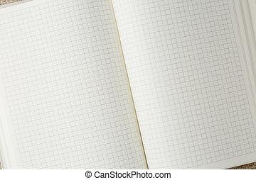 vista, pagina bianco, quaderno, aperto, cima tavola