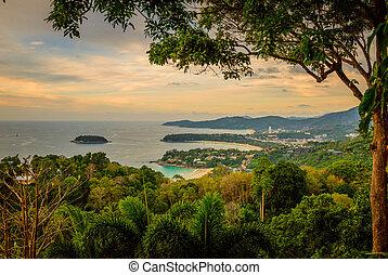 vista, paisaje, punto, kata, playa de karon, phuket