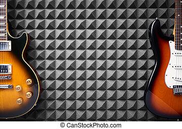 vista, panel, plano de fondo, espuma, guitarra, eléctrico, ...