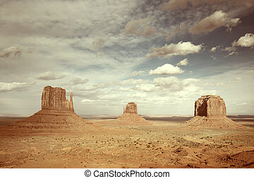 vista panorámica, de, el, monument valley, arizona