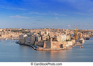 vista panorámica, de, fortaleza, magnífico, puerto, en, valletta