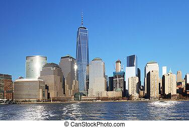 vista panorámica, de, manhattan, nueva york