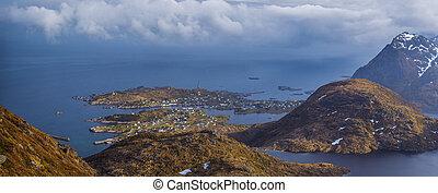 vista panorámica, de, moskenes, aldea, lofoten, islas,...