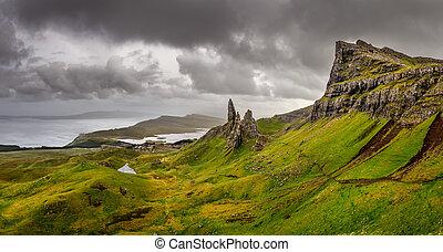 vista panorámica, de, viejo, de, storr, montañas, tierras...
