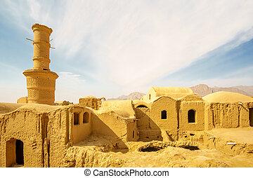 vista panorámica, encima, antiguo, ciudad, de, karanaq, por, yazd