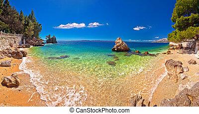 vista panorámica, idílico, playa, brela