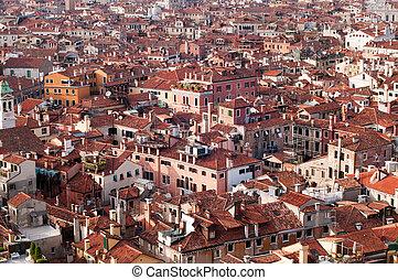 vista panoramic, de, cidades, telhados, de, veneza, itália