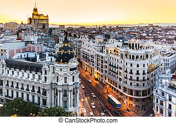 vista panoramic, de, gran via, madrid, spain.