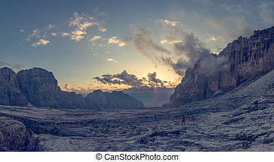 vista panoramic, de, montanha, sunset.