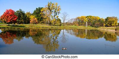 vista panoramic, de, panorâmico, lago