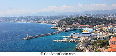 vista panoramic, de, porto, de, cidade, de, nice.