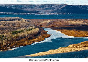 vista panoramic, de, rio volga, curva, perto, samara, rússia