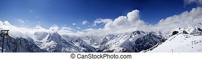 vista panoramic, ligado, declive esqui, em, agradável, sol, dia