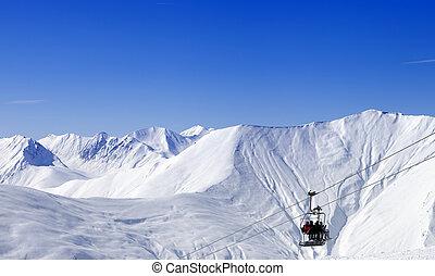 vista panoramic, ligado, ropeway, em, refúgio esqui