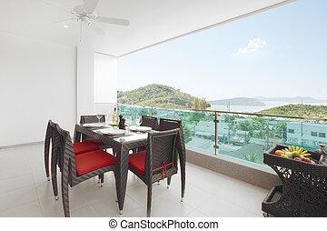 vista panoramica, bello, mare, balcone