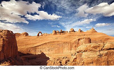vista panoramica, di, arco naturale, e, dondolare formazioni, fornisce arcata parco nazionale