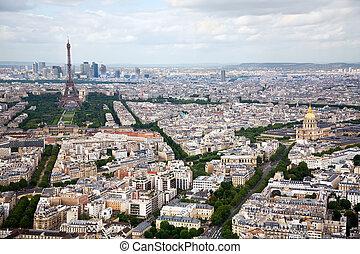 vista, parís, elevado, francia