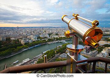 vista, para, paris, e, sena, de, effeil, torre