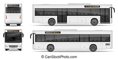vista., passageiro, lado, anunciando, illustration., mockup, autocarro, transporte, isolado, realístico, vetorial, experiência., modelo, frente, branca, cidade, parte traseira, design.