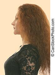 vista, perfil, mujer de negocios